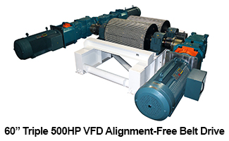 "West River Conveyors 60"" Triple 500HP VFD Alignment-Free Belt Drive"